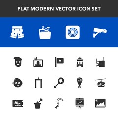 Modern, simple vector icon set with white, surveillance, sign, music, business, fashion, machine, retro, style, wear, flag, tv, child, cute, graphic, scan, safety, air, shorts, hipster, security icons