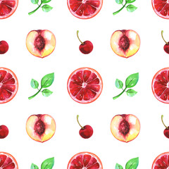 Hand painted seamless fruits pattern with watercolor cherry, blood orange, nectarine and green leaf isolated on white background