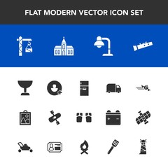 Modern, simple vector icon set with fashion, musical, sound, beach, interior, freezer, food, construction, footwear, image, airplane, glass, river, church, flip, kayaking, lighthouse, departure icons