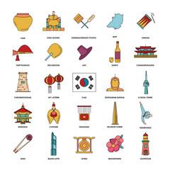 South Korea icons set, cartoon style