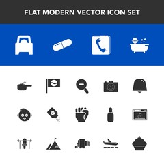 Modern, simple vector icon set with travel, cute, phone, finger, dish, photo, japanese, camera, baby, medical, dessert, food, medicine, white, concept, shower, car, notification, dinner, asia icons
