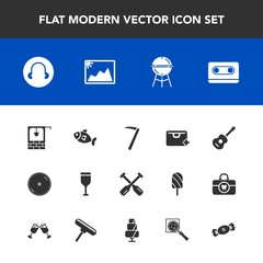 Modern, simple vector icon set with meat, oar, sale, glass, bucket, bbq, tool, retro, barbecue, equipment, cooking, fish, canoe, add, water, boat, guitar, hammer, old, seafood, musical, well, cd icons