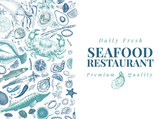 Seafood vector illustration. Can be use for restaurants menu, cover, packaging. Vintage hand drawn banner template. Retro background.