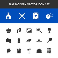 Modern, simple vector icon set with interior, oil, table, image, healthy, bottle, katana, business, magnifier, folder, mediterranean, cannon, water, poker, ball, drink, japanese, search, file icons