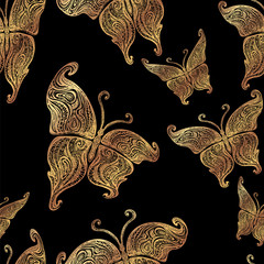 vector butterfly tattoo seamless pattern