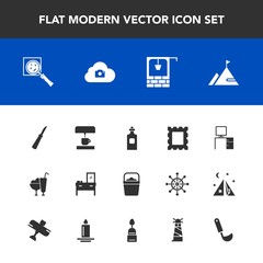 Modern, simple vector icon set with cabinet, furniture, kitchen, picture, cream, lighthouse, element, dessert, liquid, glass, machine, magnifier, knife, nature, stone, sweet, handle, white, old icons