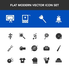 Modern, simple vector icon set with notification, spoon, well, photo, diploma, water, camera, technology, old, musical, album, music, award, restaurant, stone, cooking, lollipop, alert, frame icons