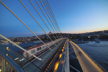 Golden Horn Metro bridge in Istanbul