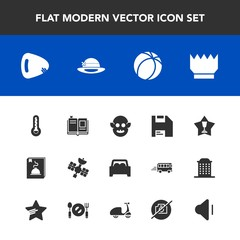 Modern, simple vector icon set with picture, satellite, monster, audio, guitar, ufo, temperature, volume, winner, car, sign, vehicle, place, textbook, no, luxury, library, sound, thermometer, up icons