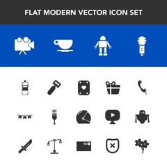 Modern, simple vector icon set with projection, cappuccino, vegetable, equipment, gift, background, cleaner, robot, glass, screen, microphone, happy, motorcycle, projector, flag, red, technology icons