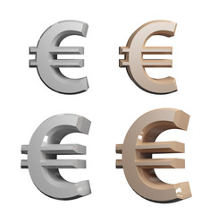 Euro Icon Silver and gold on white Background