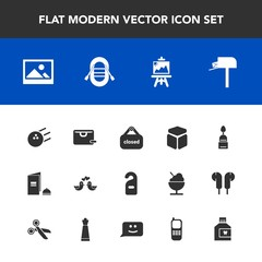 Modern, simple vector icon set with box, fun, shop, pigeon, post, label, background, cake, doughnut, bowling, hotel, mailbox, old, art, , love, store, travel, bird, brochure, dove, business, pin icons