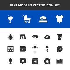 Modern, simple vector icon set with radio, umbrella, mask, christmas, japan, clothing, recycle, sea, communication, japanese, energy, web, trash, photo, hat, kid, warm, light, home, cloud, bar icons