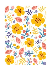 Vertical backdrop, card or poster template decorated with beautiful summer flowers, berries, leaves and sprigs on white background. Bright colored cartoon vector illustration in flat style.