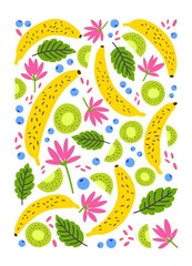Vertical backdrop, card or poster template decorated with exotic fresh banana and kiwi fruits and blooming tropical flowers on white background. Colorful cartoon vector illustration in flat style.