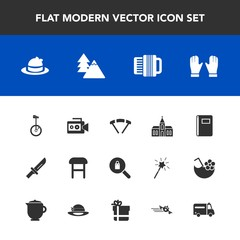 Modern, simple vector icon set with dinner, parachuting, notebook, tree, comfortable, hat, armchair, religious, book, handle, fashion, forest, church, religion, style, parachute, clothes, camera icons