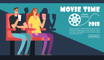 Film cinema festival poster. Movie time, couple date at theater vector background