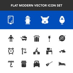 Modern, simple vector icon set with clock, sign, castle, cute, hydrant, technology, medieval, banner, fire, gift, photo, drink, bucket, hour, alcohol, box, construction, decoration, bunny, watch icons