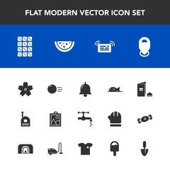 Modern, simple vector icon set with meat, child, fish, watermelon, location, communication, tap, ball, chocolate, dessert, food, icecream, sakura, faucet, sport, shirt, map, sink, young, call icons