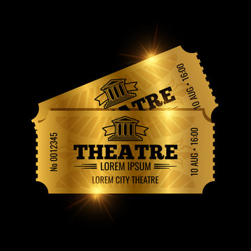 Vintage theatre tickets vector template. Vector golden tickets isolated on black backgound