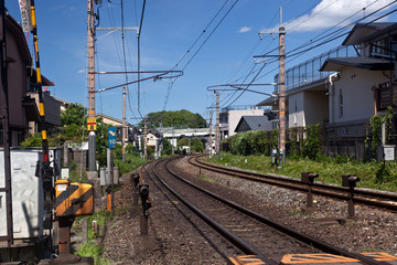 Railway track in Japanese suburb