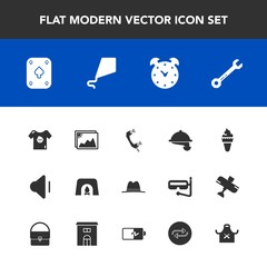 Modern, simple vector icon set with wrench, phone, watch, kid, image, service, time, up, volume, picture, hat, music, hour, waitress, fire, frame, alarm, sweet, home, photo, restaurant, play icons