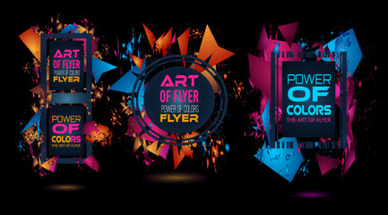 Futuristic Frame Art Design with Abstract shapes and drops of colors behind the space for text