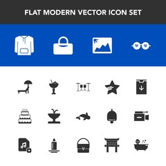 Modern, simple vector icon set with cocktail, shower, sunbed, bar, fashion, fish, jacket, alcohol, web, cake, seafood, clothing, bag, summer, drink, sign, baby, hippie, food, bath, sport, sea icons
