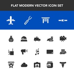 Modern, simple vector icon set with music, japan, projection, hotdog, office, shrine, communication, torii, restaurant, industry, airplane, bulldozer, butterfly, note, sound, lady, travel, child icons