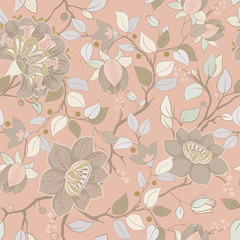 Foto op Aluminium Botanisch Light floral pattern. Vector wallpaper with big illustration flowers. Hand drawn plants, roses