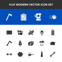 Modern, simple vector icon set with electricity, ball, holiday, football, construction, kitchen, wrench, soccer, axe, image, sweet, theater, spanner, picture, food, grater, gift, tool, present icons