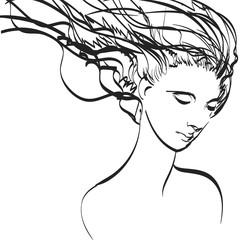 Art of woman in vector. Eps, vector design