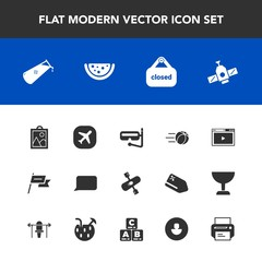 Modern, simple vector icon set with summer, river, store, sign, wind, image, snorkel, nation, travel, bubble, game, water, planet, sport, online, patriotism, station, chemical, plane, technology icons