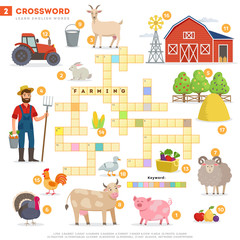 Crossword with huge set of illustrations and keyword in vector flat design isolated on white background. Crossword 2 - Farming - learning English words with images