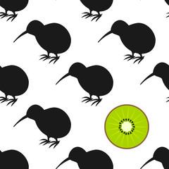 Kiwi birds and fruit seamless pattern