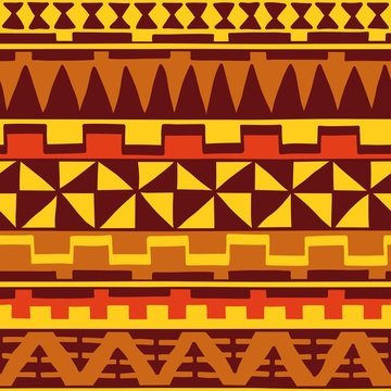 Color seamless pattern in ethnic style. Ornamental element African theme. Set of vintage decorative tribal border. Traditional Maori decoration background with national elements form.