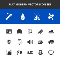 Modern, simple vector icon set with water, menu, drawing, alien, saw, monster, up, construction, space, sound, river, gadget, fiction, banner, music, ball, travel, sign, equipment, axe, kayaking icons