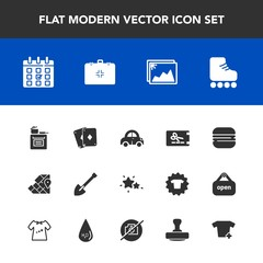 Modern, simple vector icon set with calendar, world, travel, skating, burger, sport, automobile, day, kitchen, transportation, game, poker, atlas, car, equipment, night, sandwich, food, photo icons