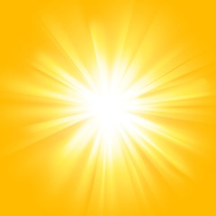 Yellow sun rays with orange flare