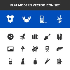 Modern, simple vector icon set with agriculture, planet, food, child, business, communication, photo, sign, space, seafood, harvest, sea, frame, phone, shovel, mark, accordion, telephone, rocket icons