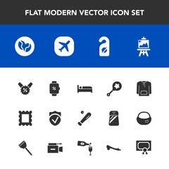 Modern, simple vector icon set with caffeine, check, achievement, travel, border, artist, equipment, toy, price, ball, jacket, screen, award, coffee, picture, sign, security, infant, bed, label icons