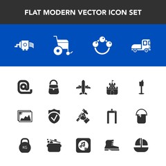 Modern, simple vector icon set with wine, wheelchair, restaurant, photo, holder, check, helmet, bag, airplane, industry, cheese, delivery, background, infant, white, foreman, envelope, kitchen icons
