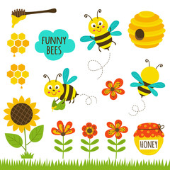 set of isolated funny bees and icons - vector illustration, eps