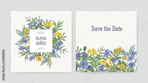 wedding party invitation and save the date card templates decorated