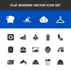 Modern, simple vector icon set with industry, food, hanger, craft, boat, ocean, grater, image, poker, ship, cooking, rocket, space, pen, buoy, restaurant, frame, cloakroom, calligraphy, white icons