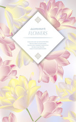 Template for greeting cards, wedding decorations, sales. Vector vertical banner with tulips. Spring or summer design.