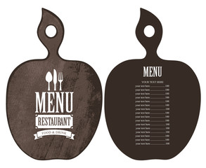Vector menu for the restaurant with price list in the form of wooden cutting board with a picture of cutlery in retro style