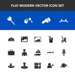 Modern, simple vector icon set with repair, drink, cold, picture, helmet, safety, shopping, pull, leather, kitchen, send, fashion, gift, man, scale, travel, hat, bucket, cooking, boat, juice, up icons