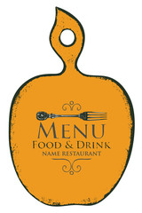 Vector template menu for restaurant in the form of figured wooden cutting board with a picture of fork in retro style