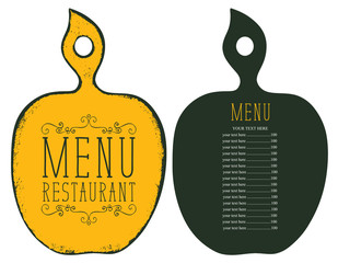 Vector template menu for the restaurant with price list in the form of figured wooden cutting board in retro style
